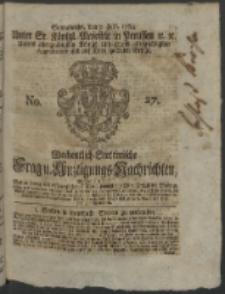 Wochentlich-Stettinische Frag- und Anzeigungs-Nachrichten. 1764 No. 27 + Anhang