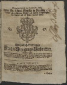 Wochentlich-Stettinische Frag- und Anzeigungs-Nachrichten. 1764 No. 47 + Anhang