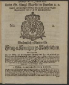 Wochentlich-Stettinische Frag- und Anzeigungs-Nachrichten. 1744 No. 2