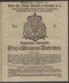 Wochentlich-Stettinische Frag- und Anzeigungs-Nachrichten. 1744 No. 6