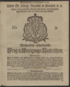 Wochentlich-Stettinische Frag- und Anzeigungs-Nachrichten. 1744 No. 9