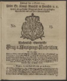 Wochentlich-Stettinische Frag- und Anzeigungs-Nachrichten. 1744 No. 13