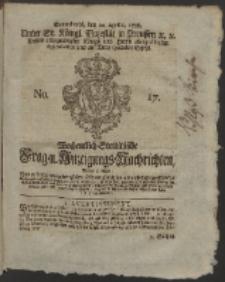 Wochentlich-Stettinische Frag- und Anzeigungs-Nachrichten. 1758 No. 17 + Anhang