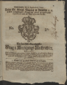 Wochentlich-Stettinische Frag- und Anzeigungs-Nachrichten. 1758 No. 37