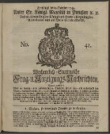 Wochentlich-Stettinische Frag- und Anzeigungs-Nachrichten. 1744 No. 41
