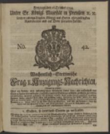 Wochentlich-Stettinische Frag- und Anzeigungs-Nachrichten. 1744 No. 42
