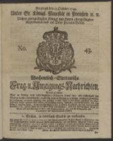 Wochentlich-Stettinische Frag- und Anzeigungs-Nachrichten. 1744 No. 43