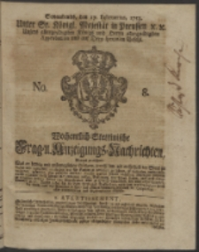 Wochentlich-Stettinische Frag- und Anzeigungs-Nachrichten. 1753 No. 8 + Anhang