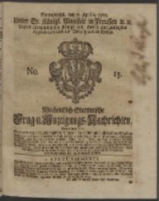Wochentlich-Stettinische Frag- und Anzeigungs-Nachrichten. 1753 No. 15 + Anhang
