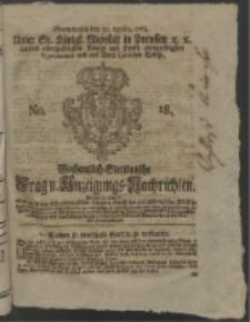 Wochentlich-Stettinische Frag- und Anzeigungs-Nachrichten. 1763 No. 18 + Anhang