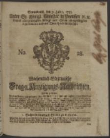 Wochentlich-Stettinische Frag- und Anzeigungs-Nachrichten. 1753 No. 28 + Anhang