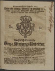 Wochentlich-Stettinische Frag- und Anzeigungs-Nachrichten. 1753 No. 32 + Anhang