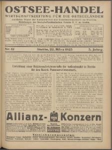 Ostsee-Handel : Wirtschaftszeitschrift für der Wirtschaftsgebiet des Gaues Pommern und der Ostsee und Südostländer. Jg. 5, 1925 Nr. 12
