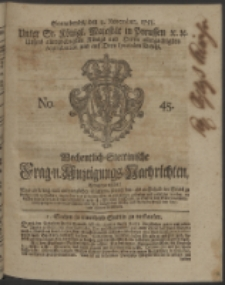 Wochentlich-Stettinische Frag- und Anzeigungs-Nachrichten. 1753 No. 45 + Anhang