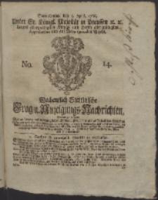 Wochentlich-Stettinische Frag- und Anzeigungs-Nachrichten. 1766 No. 14 + Anhang