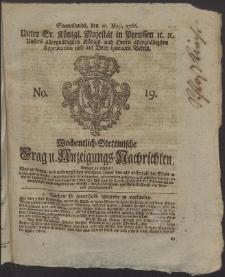 Wochentlich-Stettinische Frag- und Anzeigungs-Nachrichten. 1766 No. 19 + Anhang