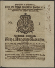 Wochentlich-Stettinische Frag- und Anzeigungs-Nachrichten. 1745 No. 5