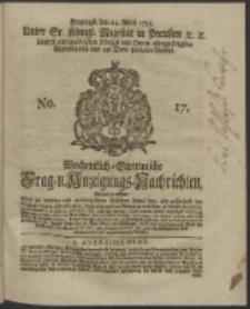 Wochentlich-Stettinische Frag- und Anzeigungs-Nachrichten. 1745 No. 17
