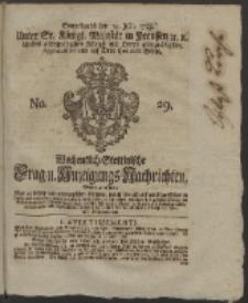 Wochentlich-Stettinische Frag- und Anzeigungs-Nachrichten. 1759 No. 29 + Anhang