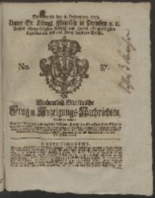 Wochentlich-Stettinische Frag- und Anzeigungs-Nachrichten. 1759 No. 37