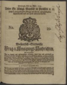 Wochentlich-Stettinische Frag- und Anzeigungs-Nachrichten. 1745 No. 39