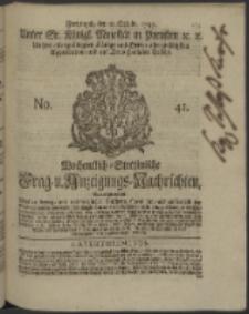 Wochentlich-Stettinische Frag- und Anzeigungs-Nachrichten. 1745 No. 41