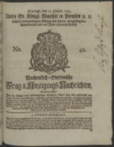 Wochentlich-Stettinische Frag- und Anzeigungs-Nachrichten. 1745 No. 42