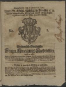 Wochentlich-Stettinische Frag- und Anzeigungs-Nachrichten. 1762 No. 2