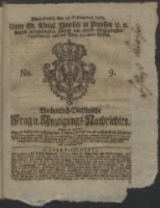 Wochentlich-Stettinische Frag- und Anzeigungs-Nachrichten. 1762 No. 9 + Anhang