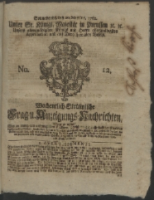 Wochentlich-Stettinische Frag- und Anzeigungs-Nachrichten. 1762 No. 12 + Anhang
