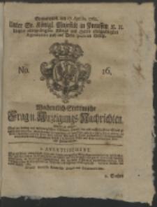 Wochentlich-Stettinische Frag- und Anzeigungs-Nachrichten. 1762 No. 16 + Anhang