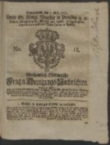 Wochentlich-Stettinische Frag- und Anzeigungs-Nachrichten. 1762 No. 18 + Anhang