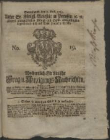 Wochentlich-Stettinische Frag- und Anzeigungs-Nachrichten. 1762 No. 19 + Anhang