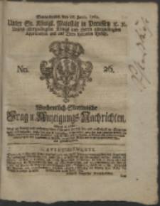 Wochentlich-Stettinische Frag- und Anzeigungs-Nachrichten. 1762 No. 26 + Anhang