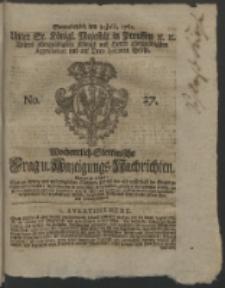Wochentlich-Stettinische Frag- und Anzeigungs-Nachrichten. 1762 No. 27 + Anhang