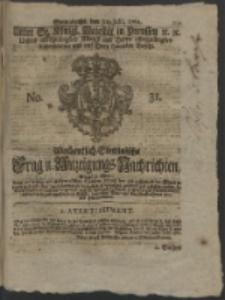 Wochentlich-Stettinische Frag- und Anzeigungs-Nachrichten. 1762 No. 31 + Anhang