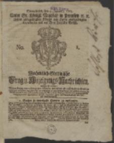 Wochentlich-Stettinische Frag- und Anzeigungs-Nachrichten. 1765 No. 1 + Anhang