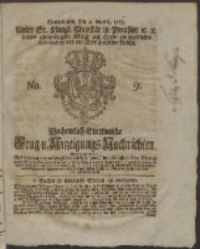Wochentlich-Stettinische Frag- und Anzeigungs-Nachrichten. 1765 No. 9 + Anhang