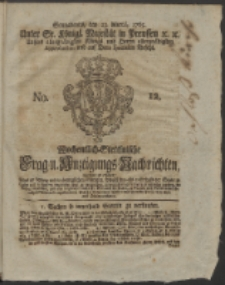 Wochentlich-Stettinische Frag- und Anzeigungs-Nachrichten. 1765 No. 12 + Anhang