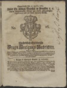 Wochentlich-Stettinische Frag- und Anzeigungs-Nachrichten. 1765 No. 16 + Anhang
