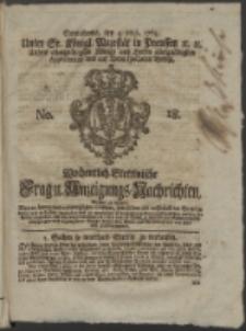 Wochentlich-Stettinische Frag- und Anzeigungs-Nachrichten. 1765 No. 18 + Anhang