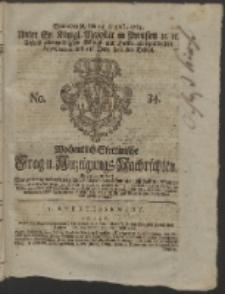 Wochentlich-Stettinische Frag- und Anzeigungs-Nachrichten. 1765 No. 34 + Anhang