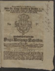 Wochentlich-Stettinische Frag- und Anzeigungs-Nachrichten. 1765 No. 37 + Anhang