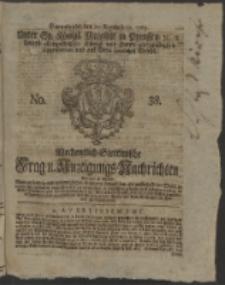 Wochentlich-Stettinische Frag- und Anzeigungs-Nachrichten. 1765 No. 38 + Anhang