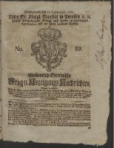 Wochentlich-Stettinische Frag- und Anzeigungs-Nachrichten. 1765 No. 39 + Anhang