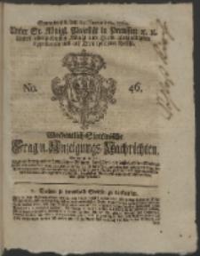 Wochentlich-Stettinische Frag- und Anzeigungs-Nachrichten. 1762 No. 46 + Anhang