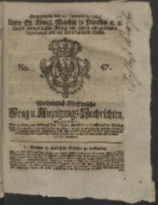 Wochentlich-Stettinische Frag- und Anzeigungs-Nachrichten. 1762 No. 47 + Anhang