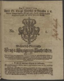 Wochentlich-Stettinische Frag- und Anzeigungs-Nachrichten. 1754 No. 1 + Anhang