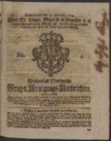 Wochentlich-Stettinische Frag- und Anzeigungs-Nachrichten. 1754 No. 4 + Anhang