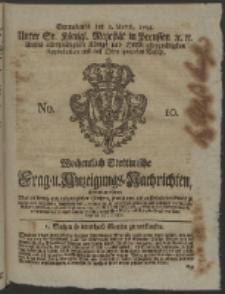 Wochentlich-Stettinische Frag- und Anzeigungs-Nachrichten. 1754 No. 10 + Anhang